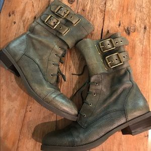 Lucky Brand Army Green Leather Buckle Boots